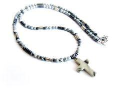 Mens cross pendant necklace gemstones men gray stones beaded