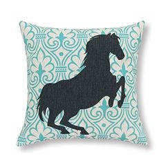 """Euphoria Home Decorative Cushion Covers Pillows Shell Cotton Linen Blend Teal Ground Pattern Black Horse Looks Right 18"""" X 18"""" Euphoria http://www.amazon.com/dp/B00L38K7ZQ/ref=cm_sw_r_pi_dp_u4Q2ub03CNCQ2"""