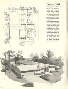 Vintage House Plans, 1960s homes, mid century homes. 1,892 square feet, four bedrooms, two living areas.