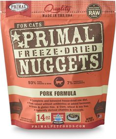 Primal Pork Formula Nuggets Freeze-dried Cat Food offers the convenience and benefits of a well-balanced, safe and wholesome raw-food diet without having to grind, chop, measure or mix it yourself. Only the freshest, human-grade ingredients are used, including real pork that's free of antibiotics, steroids and added hormones. Certified organic produce, certified organic minerals and unrefined vitamins are also incorporated to fortify this complete and balanced diet. The combination offers…