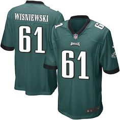Men's Nike Philadelphia Eagles #61 Stefen Wisniewski Game Midnight Green Team Color NFL Jersey