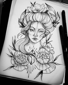 Desenho de mulher e flores em preto e branco.  #desenho #drawing #art #arte #pretoebranco #flor #mulher