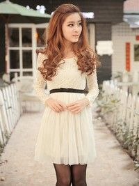 Japanese Style Floral Lace Long Sleeve Princess Dress