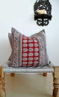 Pair Indian Hand Block Print made from Vintage Hand block print Organic fabric Cloth Pillows 18x18 on Etsy, $99.00
