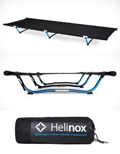 Helinox Cot One This camping cot floats your tired carcass off the cold/wet/rocky/uneven ground improving your wilderness slumber by a thousand. At just 4.4-pounds it collapses down to fit easily in your pack and yet it comfortably support campers up to 3