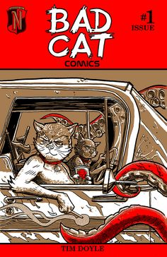 Nakatomi Inc offers original limited-edition artist t-shirts and posters with an anachronistic pop subculture bent. Cat Comics, Bad Cats, Comic Books, Illustration, Artist, Poster, Advertising, Google Search, Random