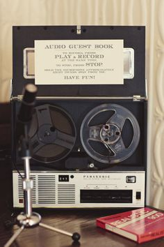 Unique wedding guest book idea - vintage audio guest book
