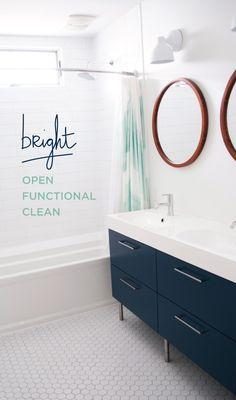 Customized IKEA vanity, hex tile, double mirrors