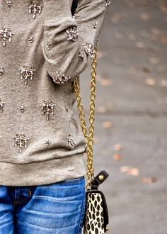 Embroidered Casual Sweater Shirt