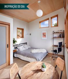 Inspiração do dia: quarto escandinavo com mini home office