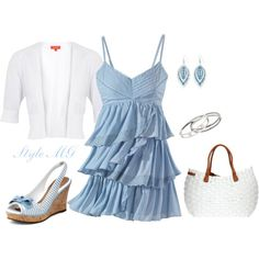 Summer nights - love the pale blue dress!