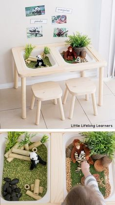 IKEA FLISAT sensory table Sensory play tub ideas for toddlers and preschoolers play ideas for the early years IKEA in the home and classroom IKEA hacks Endangered animals DJUNGELSKOG range - Gardening Sensory Table, Sensory Bins, Sensory Play, Montessori Ikea, Montessori Materials, Baby Zimmer Ikea, Trofast Ikea, Childcare Rooms, Childcare Decor