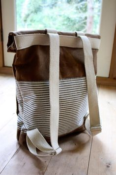 Waxed Canvas Backpack  Weather Resistant  Stripes  by BarnacleBags