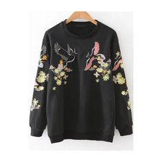 Black Embroidery Round Neck Sweatshirt (£27) ❤ liked on Polyvore featuring tops, hoodies, sweatshirts, patterned sweatshirt, print pullover, print top, pullover top and embroidered top