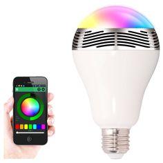 E27 6W RGB LED Bulb Wireless Bluetooth 4.0 Smart Light Music Audio Speaker Lamp for Smartphones AC100-240V