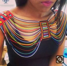 Very cute look African Attire, African Wear, African Fashion Dresses, African Dress, African Beads Necklace, African Jewelry, African Accessories, Fabric Necklace, Themed Outfits