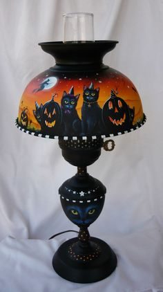 OOAK ORIGINAL HP HALLOWEEN WITCH BLACK CAT BAT CAULDRON VINTAGE METAL LAMP  #FolkartRealism