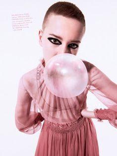 """Duchess Dior: """"Bubble Gum Punk"""" ELLE UK April 2021 Punk Princess, Bubble Gum, Pretty In Pink, Dior, Balloons, Bubbles, Photoshoot, Editorial, Globes"""