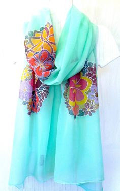 Hand Painted Silk Shawl Mint Green Kimono Floral. Evening wrap. Floral Scarf, Japanese Scarf. Approx 19x78 in. Made to order.