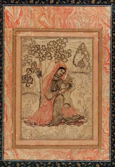 A Christian subject in India by a muhgal artist: The Madonna and Child ca. 1605-1610. Farrukh Beg active early 1580s–1619) Adil Shahi dynasty. Bijapur, India Opaque watercolor and gold on paper.
