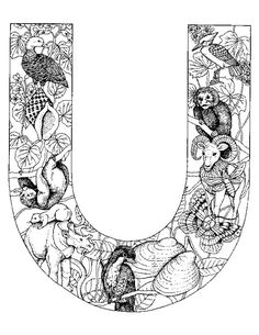 alphabet animal coloring pages u