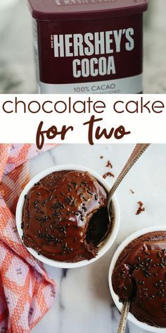 Small chocolate cake for two people. Make mini chocolate cakes in ramekins for date night dessert or for any chocolate craving at night. So fast and easy. Best chocolate cake recipe made smaller. # Desserts for two Small Chocolate Cake for Two Mini Chocolate Cake, Amazing Chocolate Cake Recipe, Easy Chocolate Cake Recipe, Easy Chocolate Desserts, Dessert For Two, Dessert Party, Food Cakes, Mug Recipes, Cooking Recipes