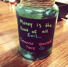 This post contains 25 creative and funny ways to ask for tips. These ways besides being funny, they are truly creative and impressing. Funny Tip Jars, Funny Tips, Money Jars, Money Box, Savings Jar, Card Box Wedding, Wedding Ideas, Bake Sale, Coffee Shop