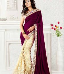 Buy MAGENTA VELVET AND BRASSO HALF HALF DESIGNER SAREE WITH BLOUSE brasso-saree online