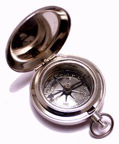 "(sku no:compass brass nd_117a) 1.75"" Classic Pocket Antique Style Camping Chrome Compass: Patio, Lawn & Garden.please visit www.krishnamartindia.com"