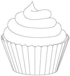 Riscos graciosos (Cute Drawings): Cupcakes sorvetes e bolos (Cupcakes ice crea Cupcake Coloring Pages, Colouring Pages, Coloring Sheets, Coloring Books, Template Cupcake, Cupcake Clipart, Cupcake Outline, Cake Templates, Templates Free