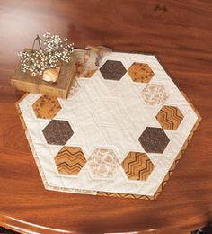 Merry-Go-Round Hexagon Table Runner from ConnectingThreads.com