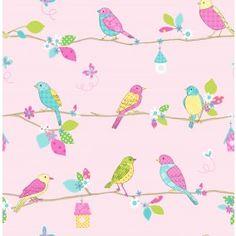 Lovely Birds Pink bij Behangwebshop