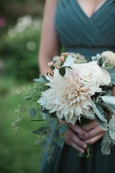 Dahlia and Dusty Miller Bouquet | photography by http://photography.michelemwaite.com