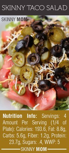 200 calories: Skinny Taco Salad is one of my favorite go-to low carb, high flavor meals! Only 5 WWP and less than 200 calories for a huge salad! DELICIOUS (I would switch out the beef for beans or ground chicken/turkey. 200 Calorie Meals, No Calorie Foods, Low Calorie Recipes, Healthy Cooking, Healthy Snacks, Healthy Eating, Healthy Recipes, Clean Eating, Stay Healthy
