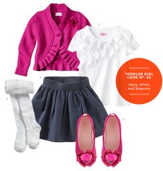 Toddler Girl Clothes: Toddler Girl Inspiration Board #02: Navy, White and Magenta Outfit from The Kids' Dept.