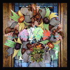 Fall autumn pumpkin harvest deco mesh and burlap wreath for halloween snd thanksgiving front door decor. Custom Wreaths by Bethany Arriola 2014