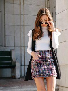 Spring Skirt Trends For Spring    Tweed Skirt