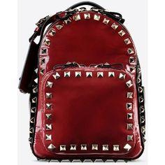 Valentino Garavani Rockstud Small Backpack ($2,055) ❤ liked on Polyvore featuring bags, backpacks, maroon, maroon backpack, color block bag, red bag, zip bags and flat bags