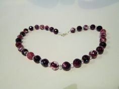 Beautiful purple and white gemstone agate necklace by myhobbyroom, $34.00