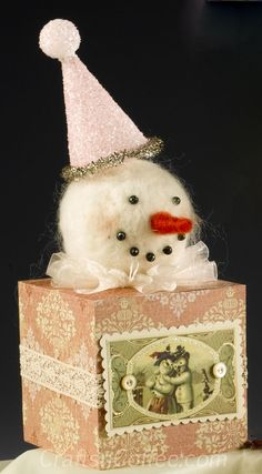 I love this DIY, Mixed Media Snowman by Rebekah Meier. Tutorial on CraftsnCoffee.com.