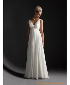 Belle robe de mariée en satin avec le col en V