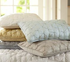 Is it weird that I want this bedding set for my birthday? Isabelle Tufted Voile Quilt & Shams #potterybarn