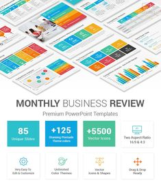 Monthly Business Review PowerPoint Template Marketing Plan Example, Marketing Strategy Template, Powerpoint Themes, Powerpoint Presentation Templates, Company Profile Template, 90 Day Plan, Data Charts, Slide Design, Competitor Analysis
