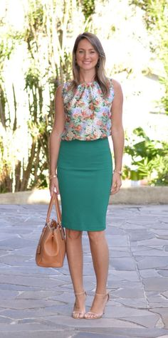 Cute business look: floral sleeveless top, green pencil skirt, neutral sandals.
