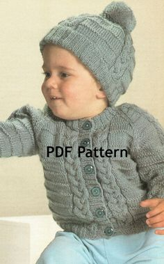 Such a cute sweater to make. Gotta get this pattern for the Boy Grands. Vintage Cable Knit Toddler Sweater Hat by BubbleGumInTheMail