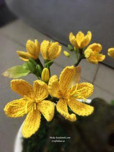 Crochet yellow apricot flowers and tree ༺✿ƬⱤღ✿༻