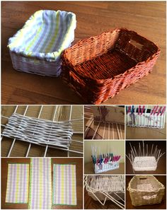 Pletenie košíka z papiera / Knitting basket of paper rolls DIY - cheap and easy oranization to your home, just from paper. useful craft, i love it. tutorial for free