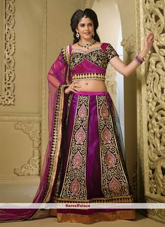 Purple Shaded A-Line Net Lehenga Choli