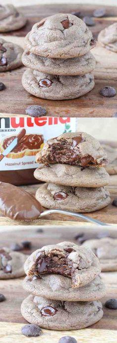 SOFT NUTELLA CHOCOLATE CHIP COOKIES - chip, chocolate, cookie, dessert, nutella, recipes, vanilla