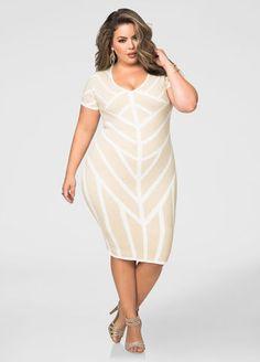 Metallic Caged Pattern Bodycon Dress Ashley Stewart